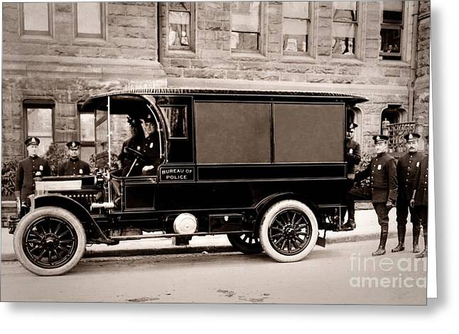 Paddy Wagon Greeting Cards - Scranton Pennsylvania  Bureau of Police  Paddy Wagon  Early 1900s Greeting Card by Arthur Miller