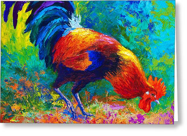 Roosters Greeting Cards - Scratchin - Rooster Greeting Card by Marion Rose