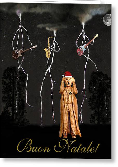 Belated Card Mixed Media Greeting Cards - Scream Buon Natale Greeting Card by Eric Kempson