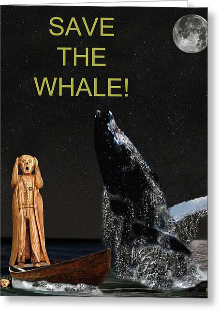 Fleeting Mixed Media Greeting Cards - Scream with Humpback Save the Whale Greeting Card by Eric Kempson