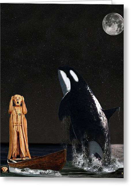 Fleeting Mixed Media Greeting Cards - Scream with Orca Greeting Card by Eric Kempson