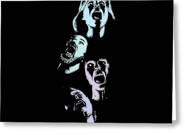 Horror Drawings Greeting Cards - Screaming Faces Greeting Card by Karl Addison
