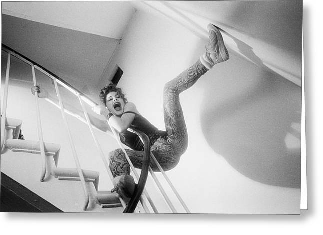 Women Greeting Cards - Screaming in the stairs Greeting Card by Philippe Taka