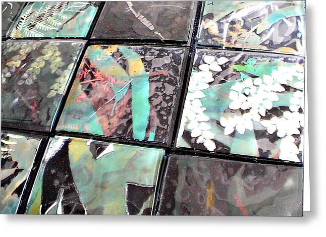 Fused Mixed Media Greeting Cards - Screen Printed Glass Tiles Greeting Card by Sarah King