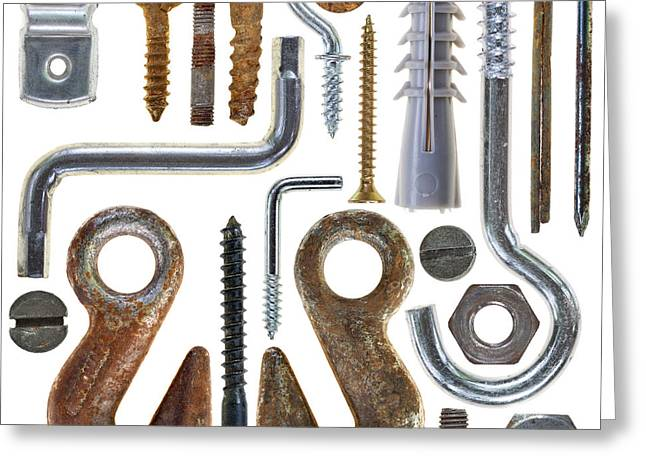Circle Hook Greeting Cards - Screws Nuts Bolts Nails Greeting Card by Michal Boubin