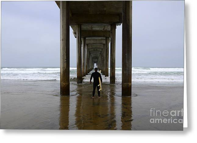 California Ocean Photography Greeting Cards - Scripps Pier Surfer 3 Greeting Card by Bob Christopher