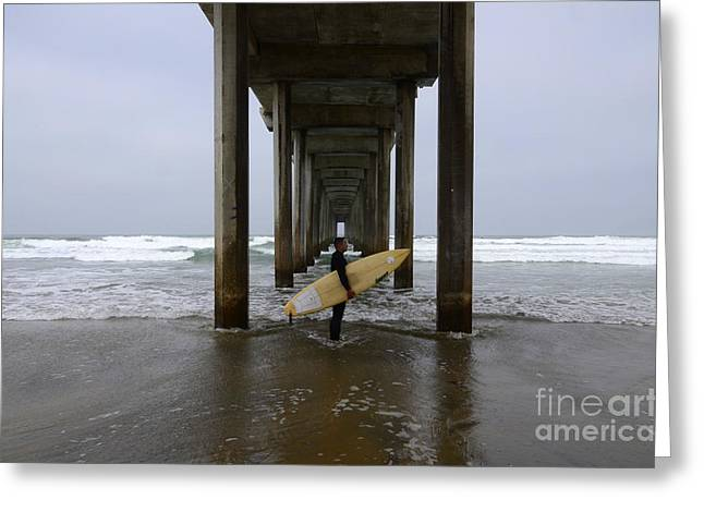 California Ocean Photography Greeting Cards - Scripps Pier Surfer Greeting Card by Bob Christopher