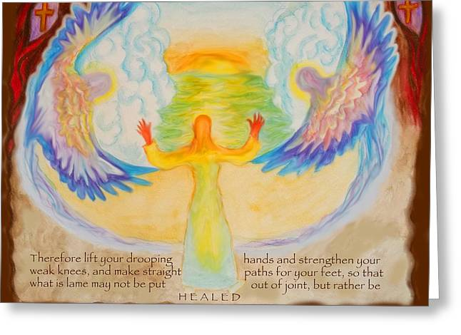 Anne Cameron Cutri Greeting Cards - Scripture Illus. Hebrews Lift Your Drooping Hands Greeting Card by Anne Cameron Cutri