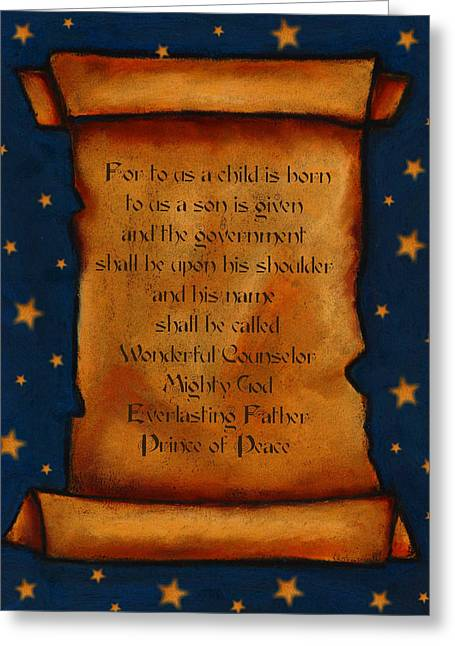 Scripture Pastels Greeting Cards - Scroll With Starry Background Greeting Card by Joyce Geleynse