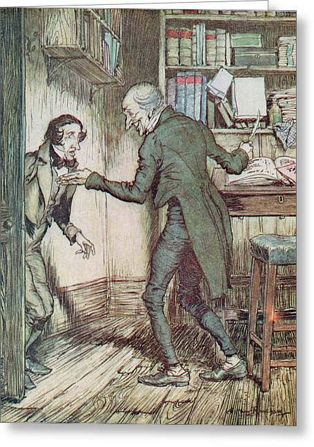 Arthur Rackham Greeting Cards - Scrooge and Bob Cratchit Greeting Card by Arthur Rackham