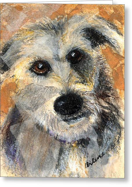 Puppies Mixed Media Greeting Cards - Scruffy Greeting Card by Arline Wagner
