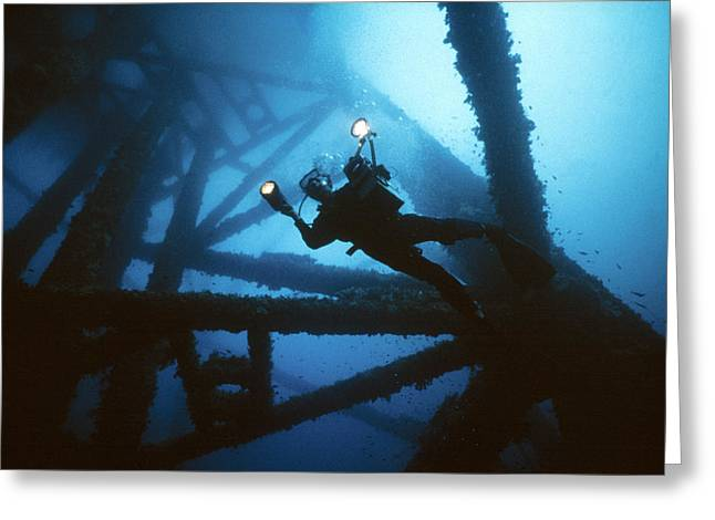 Scuba Diver Greeting Card by Peter Scoones