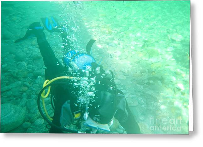 Scuba Diving Greeting Cards - Scuba diving Greeting Card by Mats Silvan