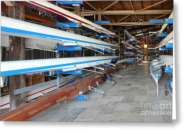 Rowing Crew Greeting Cards - Sculling Shells On Racks Greeting Card by Noam Armonn