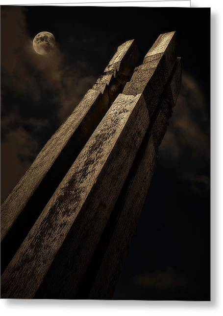 Warm Tones Photographs Greeting Cards - Sculpture By Moonlight Greeting Card by Meirion Matthias