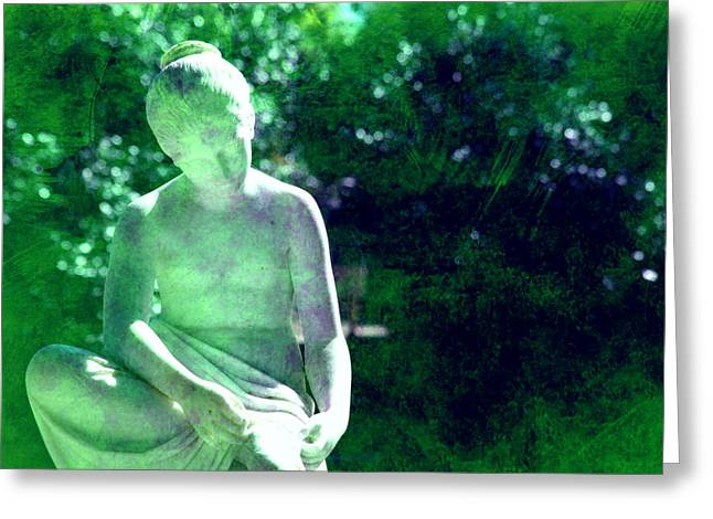 Park Scene Greeting Cards - Sculpture in a park Greeting Card by Susanne Van Hulst