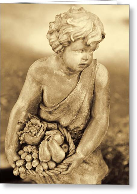 Child Pyrography Greeting Cards - Sculpture in Sepia Greeting Card by Linda Phelps