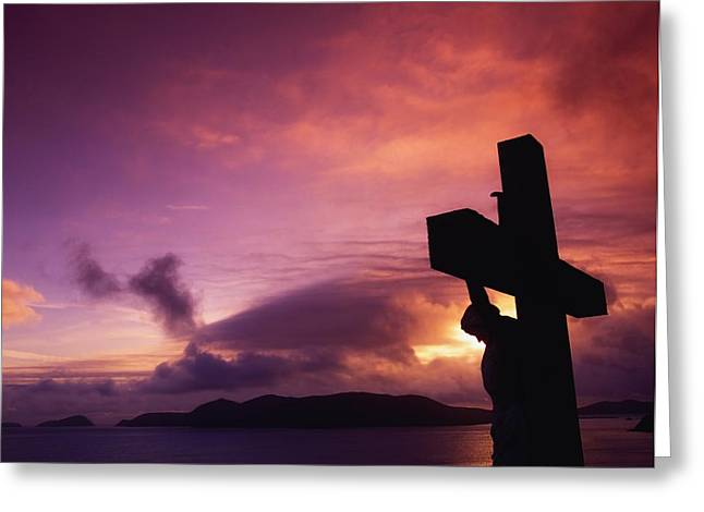 Serene Setting Greeting Cards - Sculpture Of Crucifixion, Overlooking Greeting Card by The Irish Image Collection