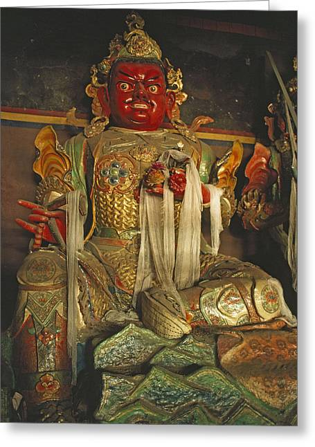 Tibetan Buddhism Greeting Cards - Sculpture Of Wrathful Protective Deity Greeting Card by Gordon Wiltsie
