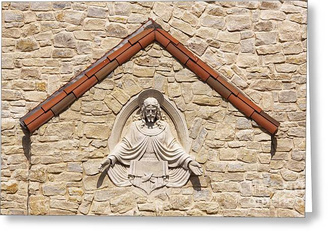 Wall Tiles Greeting Cards - Sculpture on Chapel Exterior Greeting Card by Jeremy Woodhouse