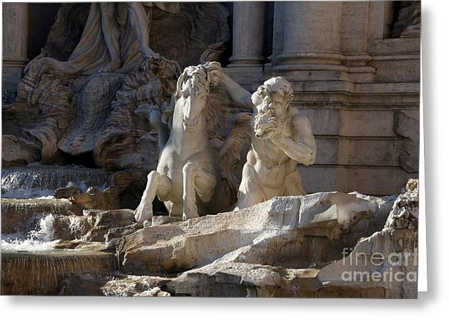 Fountain Figure Greeting Cards - Sculptures on Trevi Fountain. Rome Greeting Card by Bernard Jaubert
