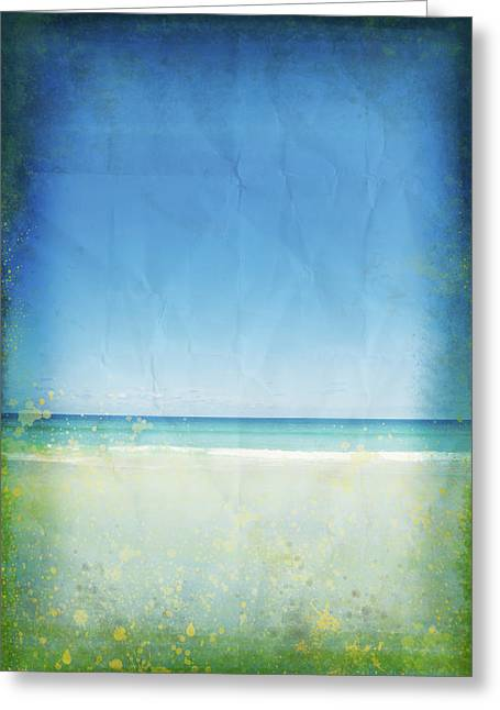 Border Photographs Greeting Cards - Sea And Sky On Old Paper Greeting Card by Setsiri Silapasuwanchai