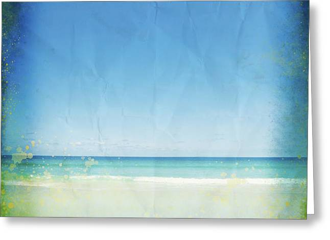 sea and sky on old paper Greeting Card by Setsiri Silapasuwanchai