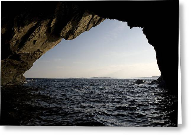 Water Over Rock Greeting Cards - Sea Cave Near Irelands Eye Greeting Card by Pete Ryan