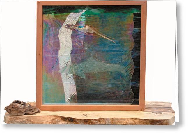 Mixed-media Glass Art Greeting Cards - Sea Dragon Dreaming Greeting Card by Sarah King