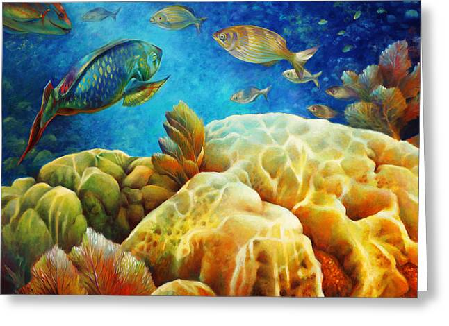 Gallery Wrap Paintings Greeting Cards - Sea eScape I - Color Queens Greeting Card by Nancy Tilles