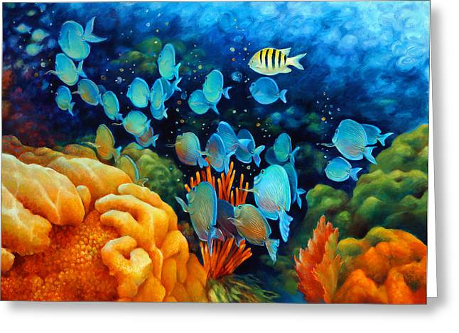 Gallery Wrap Paintings Greeting Cards - Sea eScape II - Wayward Fish Greeting Card by Nancy Tilles