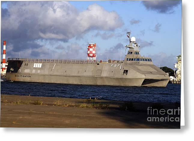 Catamaran Greeting Cards - Sea Fighter Transits Out Of Pearl Greeting Card by Michael Wood