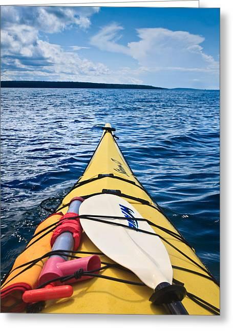 Sea Sports Greeting Cards - Sea Kayaking Greeting Card by Steve Gadomski