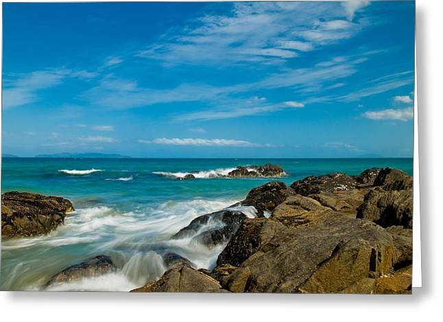 Cliffs Over Ocean Greeting Cards - Sea landscape with beach coast rocks and blue sky Greeting Card by Ulrich Schade