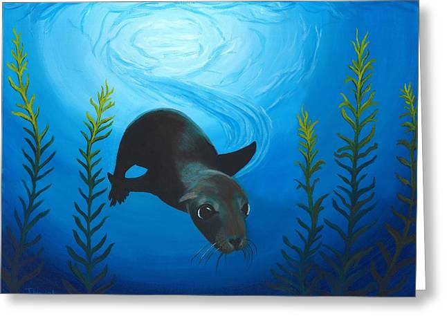 Acrylic Pastels Greeting Cards - Sea Lion Greeting Card by Jackie Novak