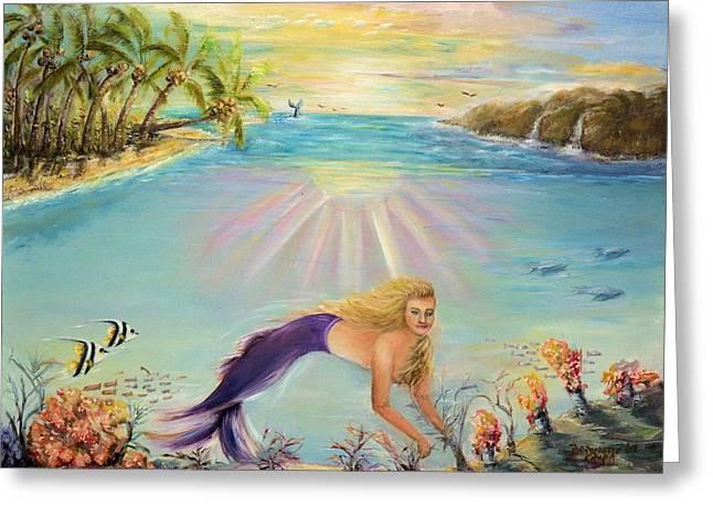 Angel Mermaids Ocean Greeting Cards - Sea Mermaid Goddess Greeting Card by Bernadette Krupa