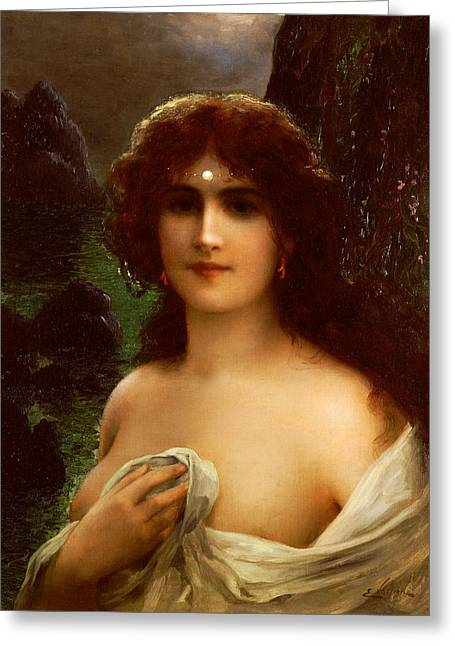 Draped Greeting Cards - Sea Nymph Greeting Card by Emile Vernon