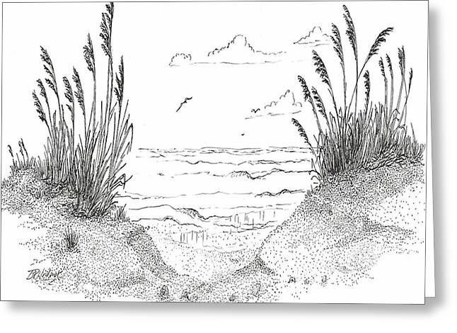 Sea Oats Drawings Greeting Cards - Sea Oats Greeting Card by Barney Hedrick