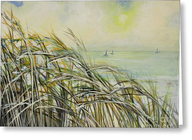 Oceon Greeting Cards - Sea Oats Sailboats Greeting Card by Michele Hollister - for Nancy Asbell