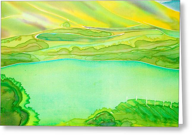 Vineyard Landscape Mixed Media Greeting Cards - Sea of Grass Waves of Mustard Greeting Card by Jill Targer