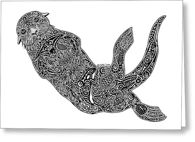 Diving Drawings Greeting Cards - Sea Otter Greeting Card by Carol Lynne