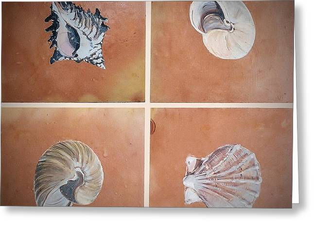 Beach Ceramics Greeting Cards - Sea Shells Greeting Card by Andrew Drozdowicz