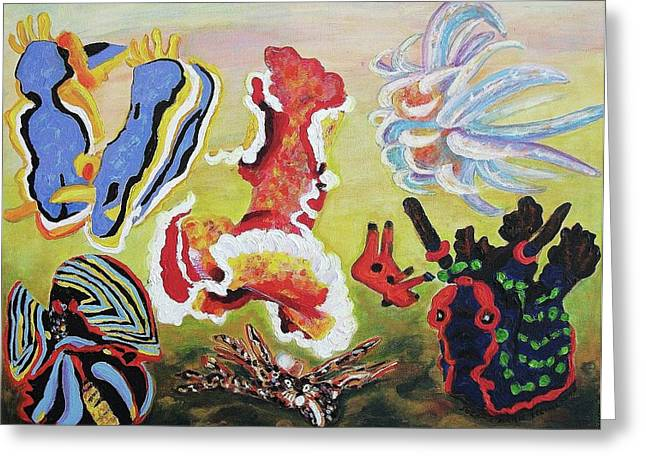 Suzanne Molleur Paintings Greeting Cards - Sea Slugs Greeting Card by Suzanne  Marie Leclair