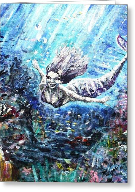 Angel Mermaids Ocean Greeting Cards - Sea Surrender Greeting Card by Shana Rowe