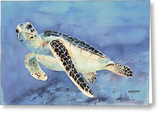 Green Sea Turtle Paintings Greeting Cards - Sea Turtle Greeting Card by Arline Wagner