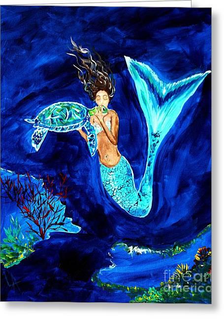 Under The Sea Mermaid Greeting Cards - Sea Turtle Kiss Greeting Card by Leslie Allen
