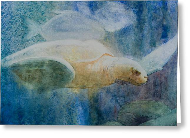 Underwater Photos Paintings Greeting Cards - Sea Turtle Greeting Card by Ruth Bailey