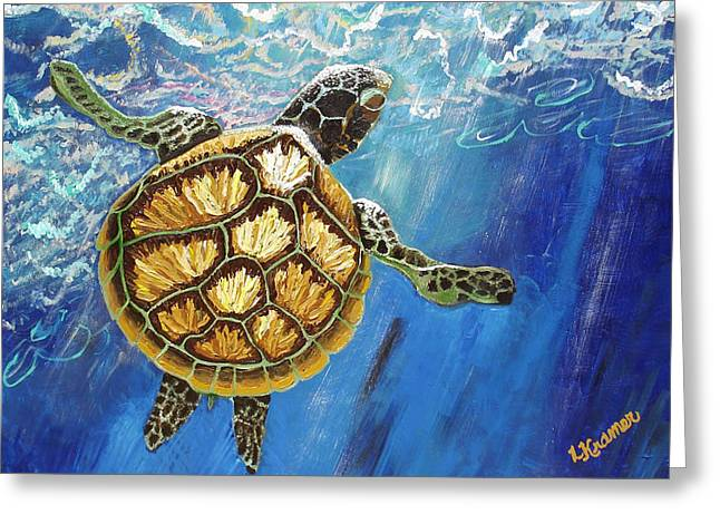 Sea Turtle Takes A Breath Greeting Card by Lisa Kramer