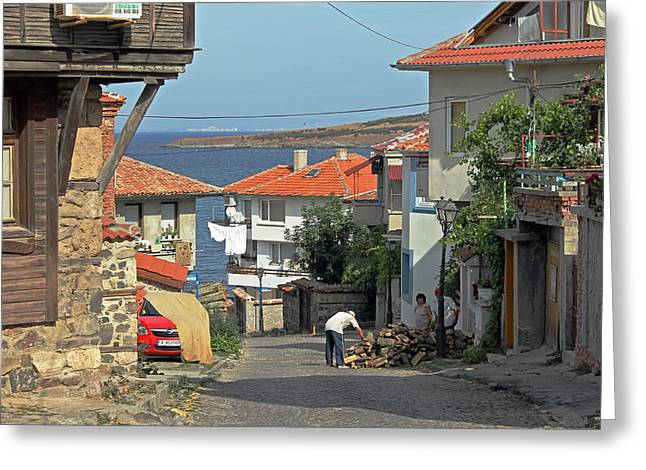 Sea View Greeting Cards - Sea view Sozopol Greeting Card by Tony Murtagh