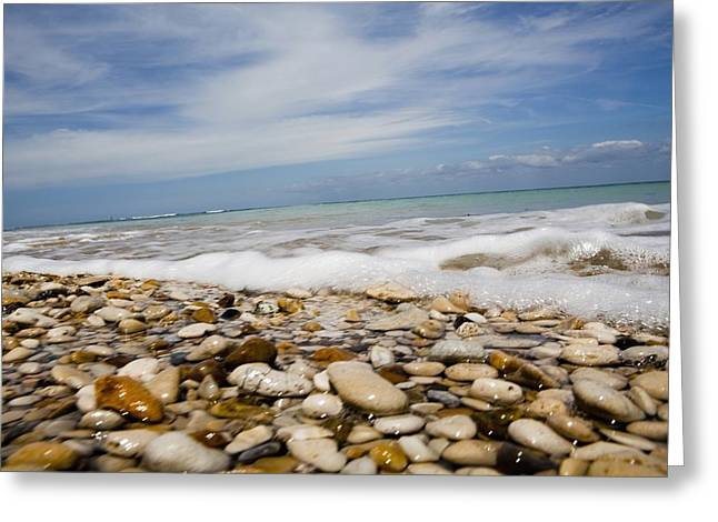Wave Up Close Greeting Cards - Sea Washing In Onto Sandy Beach Greeting Card by Axiom Photographic